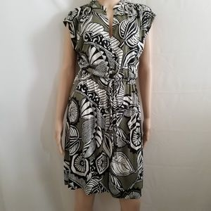 Ann Taylor Loft Green And White Multi-color Dress